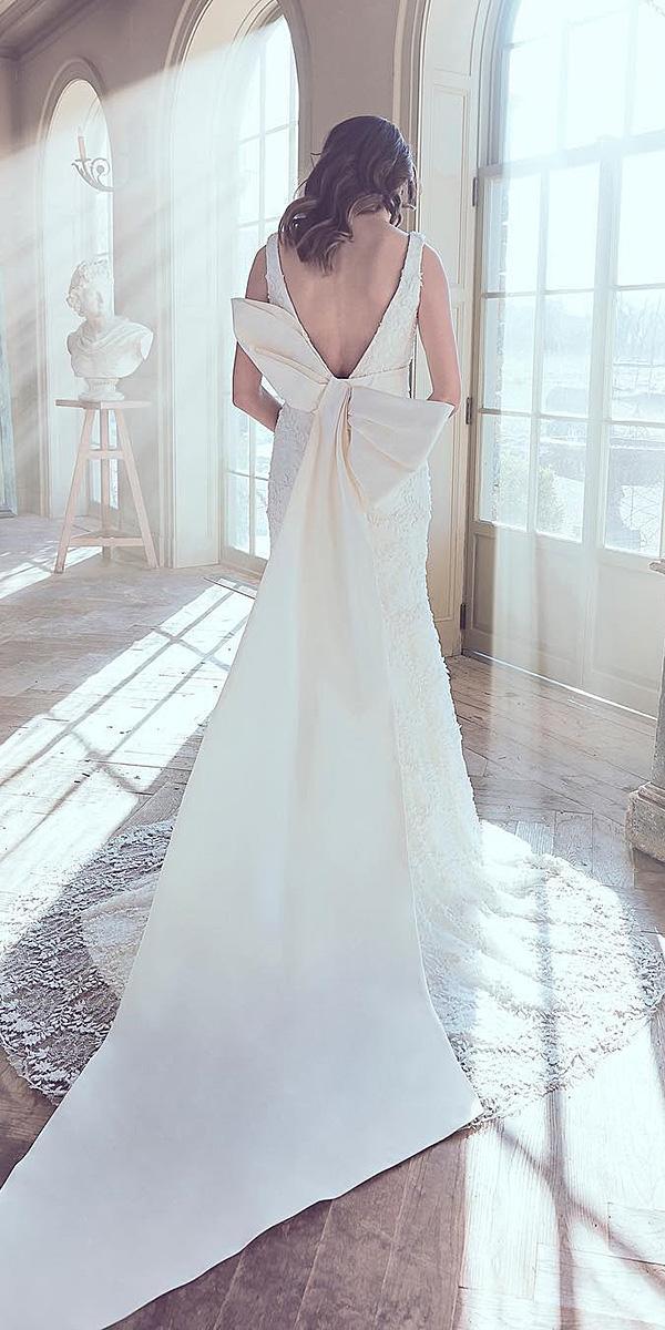 sareh nouri wedding dresses 2019 sheath v back with bow
