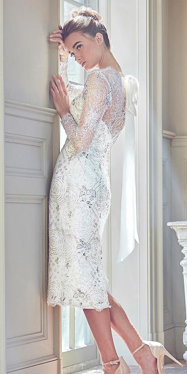 sareh nouri wedding dresses 2019 tea lehgth with long sleeves sequins