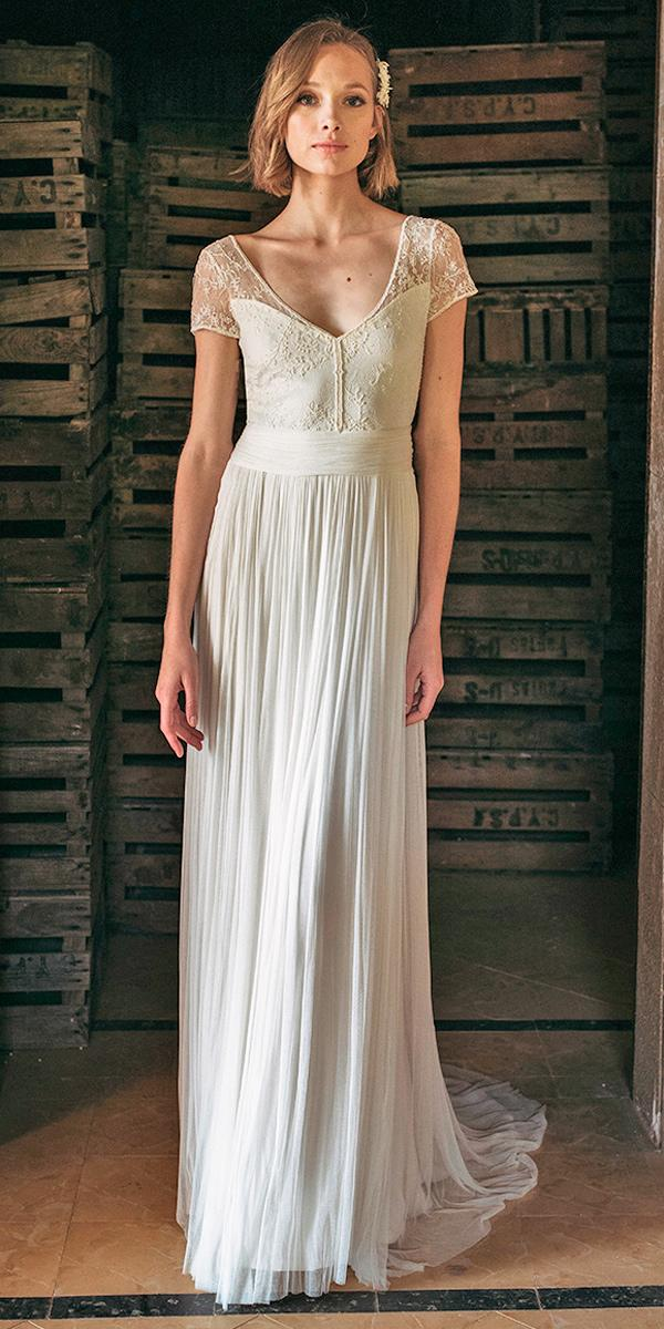 simple wedding dresses lace straight vintage boho with short sleeves v neckline jose maria peiro