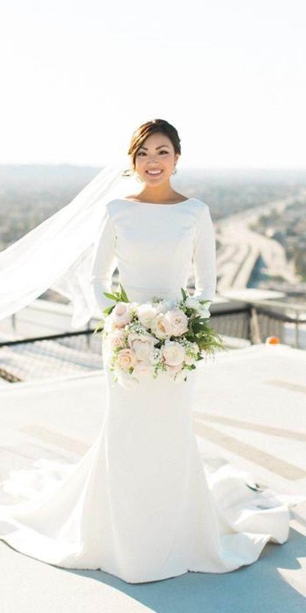 simple wedding dresses mermaid with long sleeves like meghan markle atelier by dawn