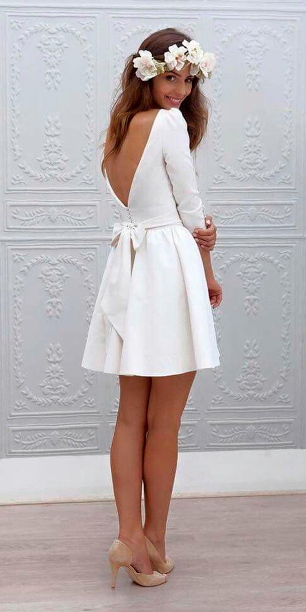 simple wedding dresses short open v back long sleeve back bow marie laporte
