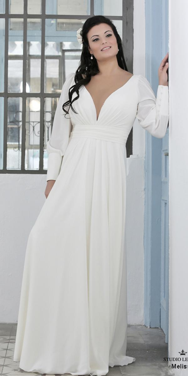 simple wedding dresses straight flowy plus size plunge v neckline long sleeve levana