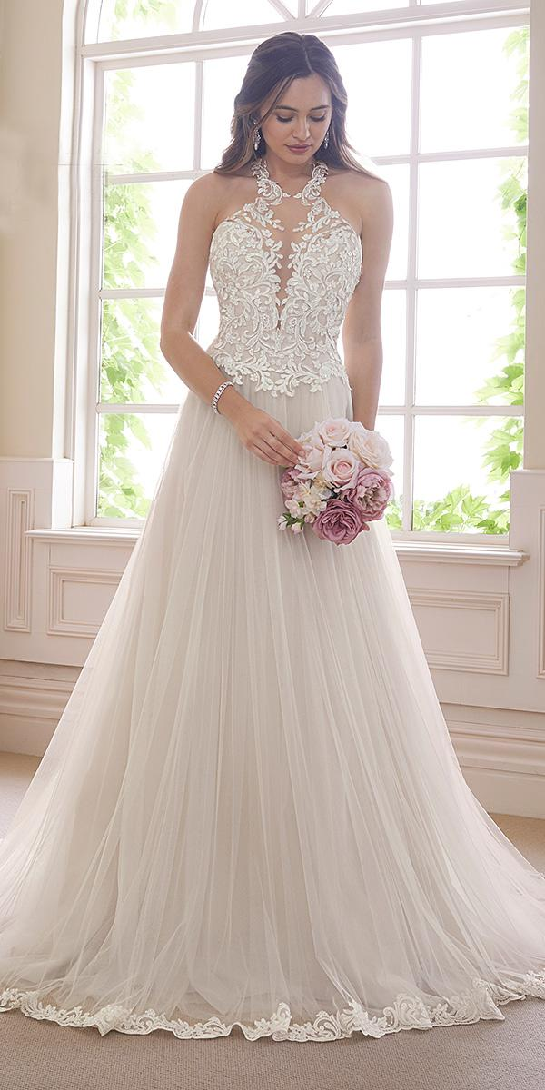 sophia tolli wedding dresses 2019 a line illusion halter lace neckline tulle skirt