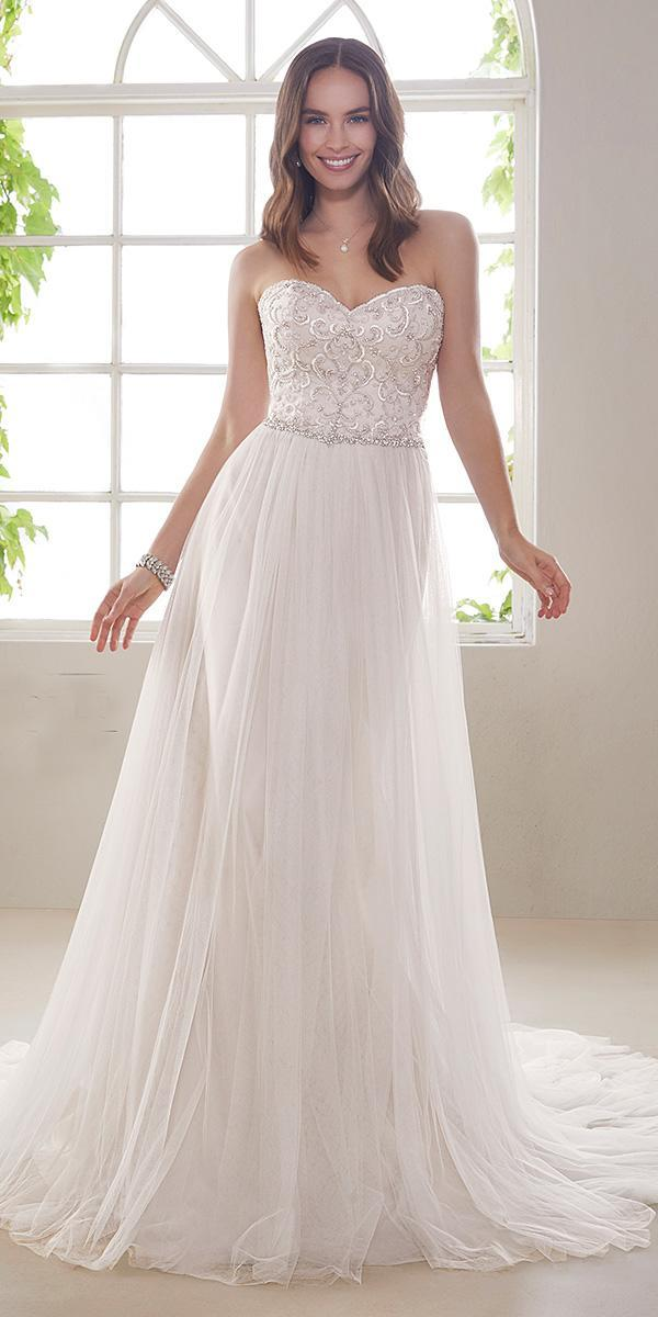 sophia tolli wedding dresses 2019 a line straples neckline beaded waist tulle skirt