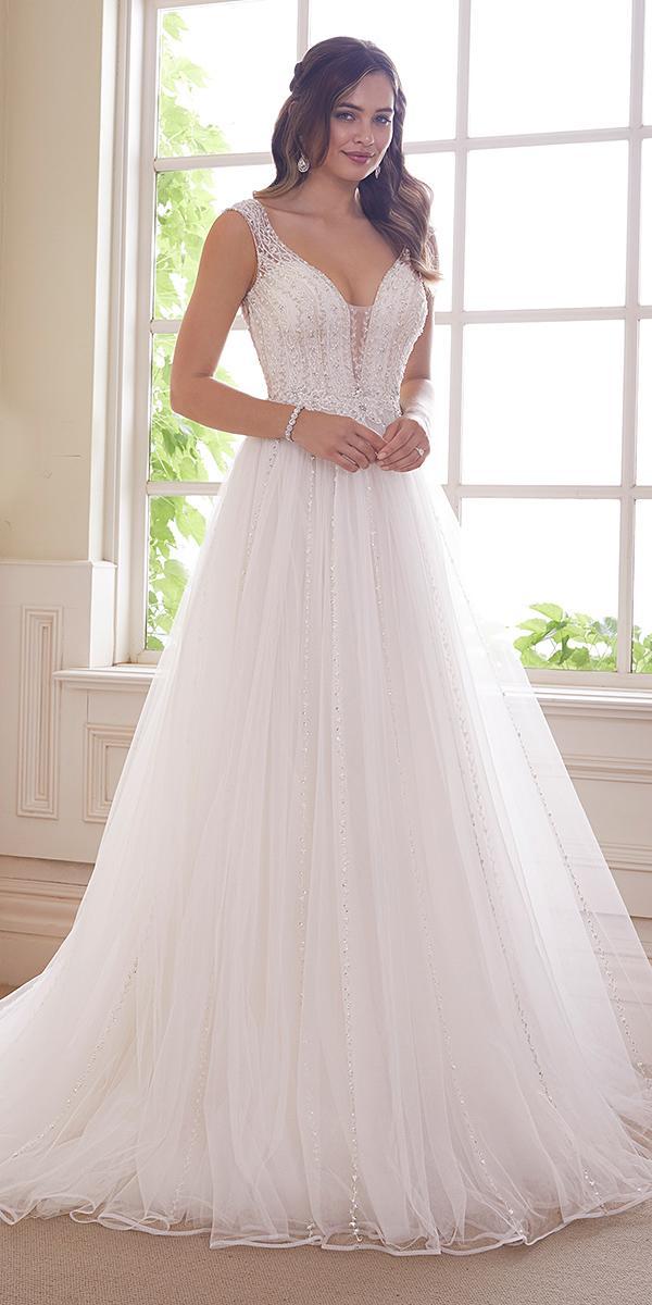 sophia tolli wedding dresses 2019 a line v neckline tulle skirt