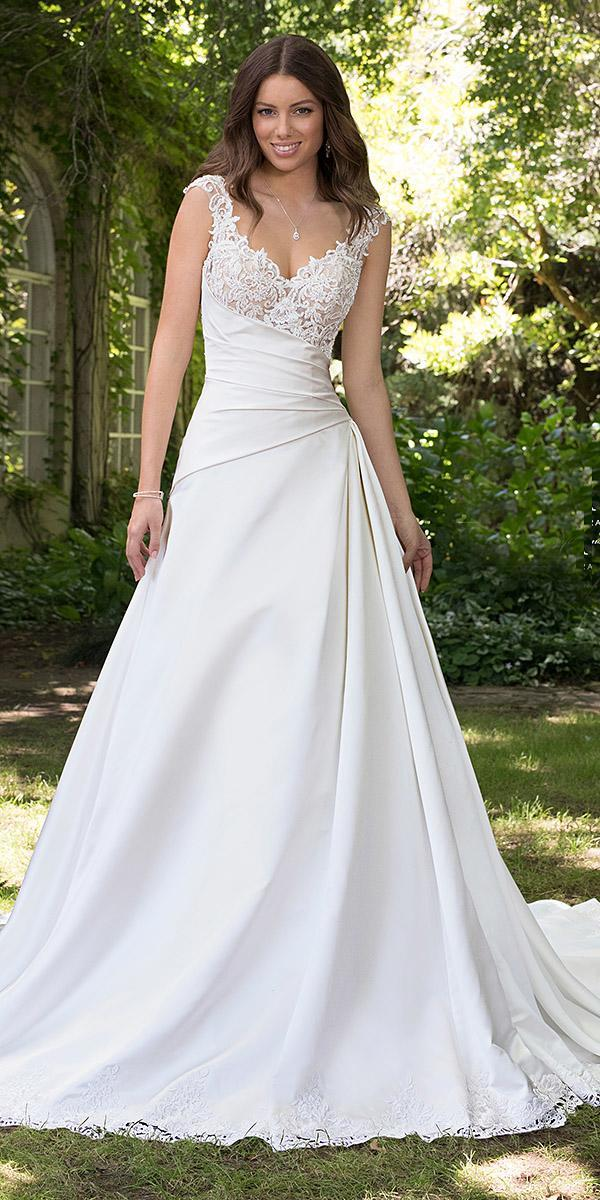 sophia tolli wedding dresses 2019 a line with cap sleeves strapless neckline satin