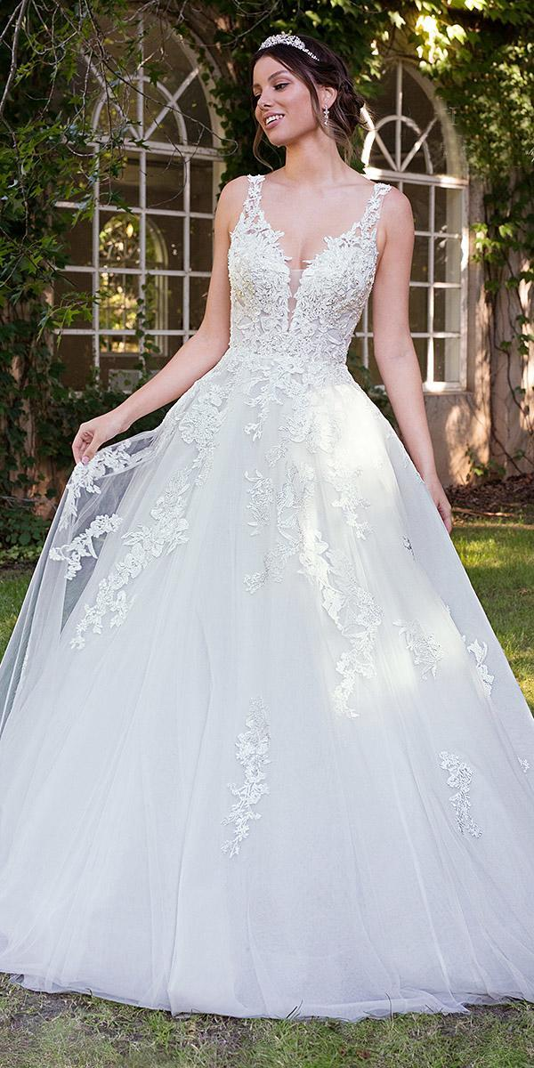 sophia tolli wedding dresses 2019 ball gown deep v neckline tulle skirt