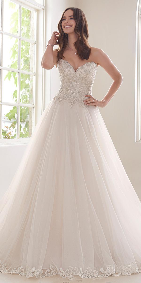 sophia tolli wedding dresses 2019 ball gown strapless sweetheart neckline lace with diamond buttons