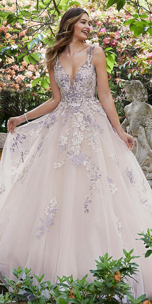 sophia tolli wedding dresses 2019 ball gown v neckline color floral tulle