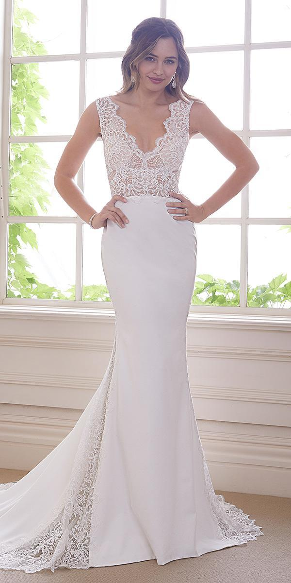 sophia tolli wedding dresses 2019 fit and flare lace top v neckline sleeveless with train