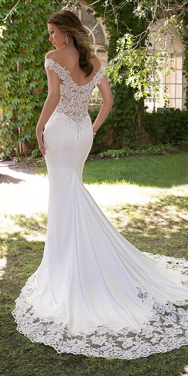 sophia tolli wedding dresses 2019 fit and flare off the shoulder lace satin