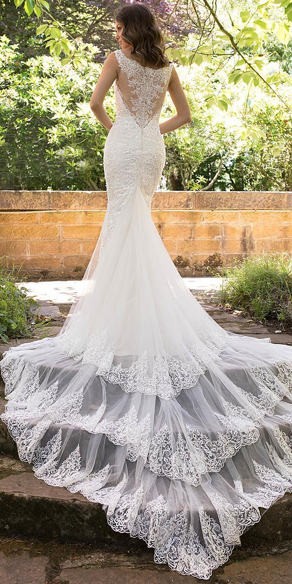 sophia tolli wedding dresses 2019 fit and flare tatoo effect back lace with train