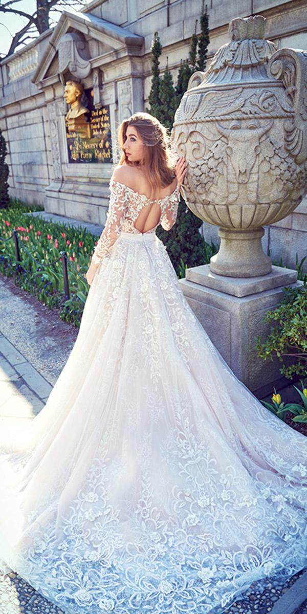 ysa makino wedding dresses a line with sleeves off the shoulder open back lace