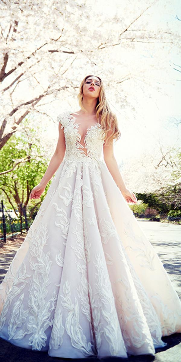 ysa makino wedding dresses a line with cap sleeves deep v neckline lace for spring