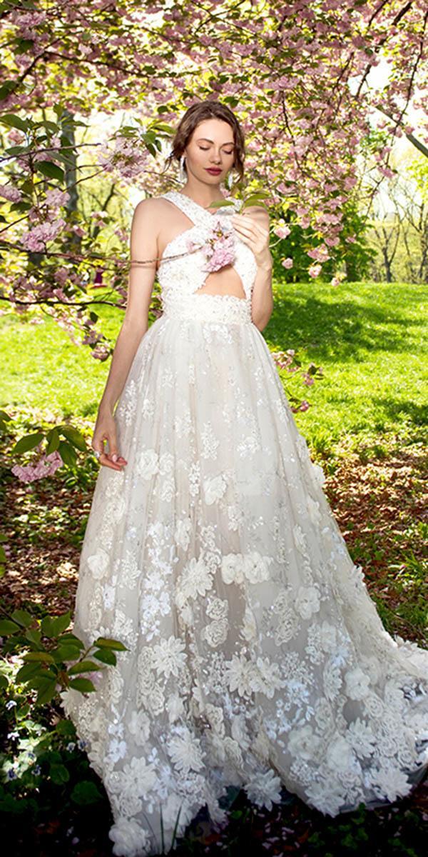 ysa makino wedding dresses a line x cross neckline appliques spring