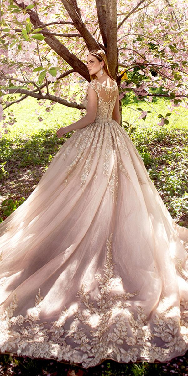 ysa makino wedding dresses ball gown gold embellishment illusion back blush