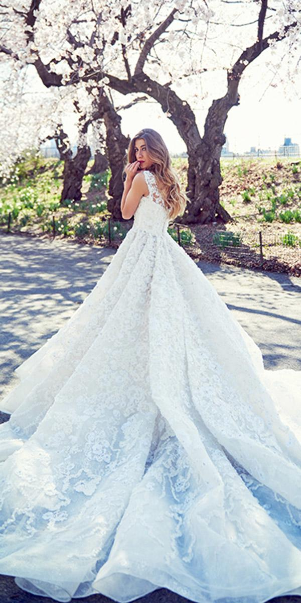 ysa makino wedding dresses ball gown lace floral embellishment