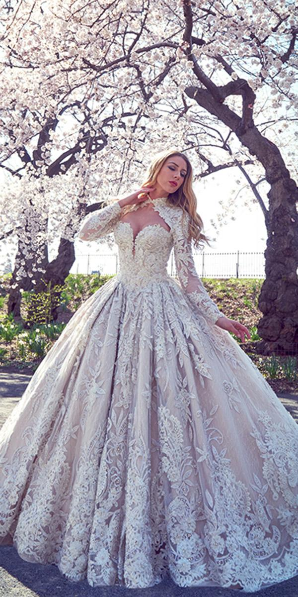 ysa makino wedding dresses ball gown lace with long sleeves sweetheart