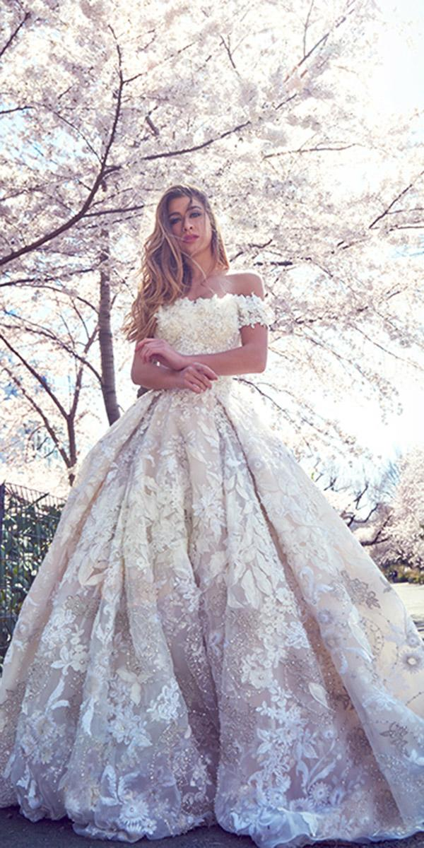 ysa makino wedding dresses ball gown off the shoulder floral appliques