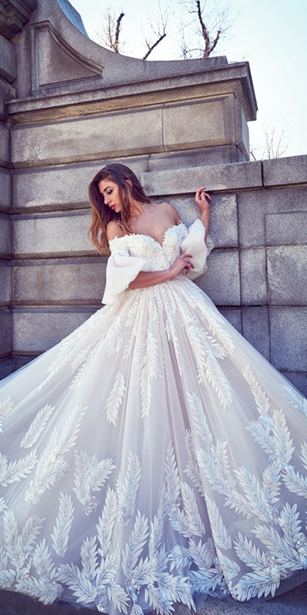 ysa makino wedding dresses ball gown puff sleeves off the shoulder floral embellishment