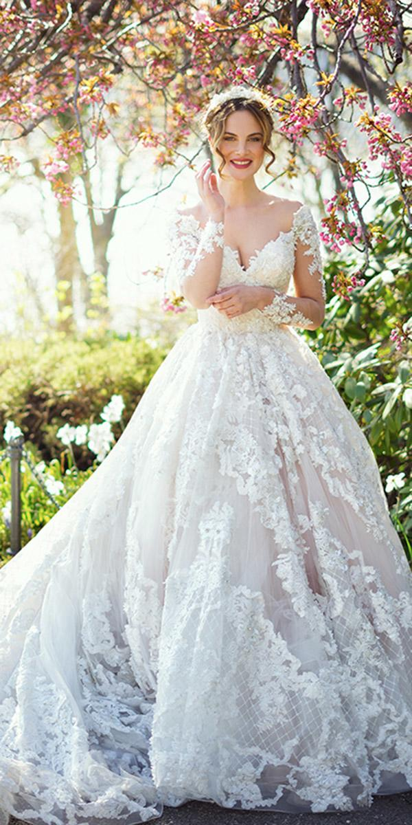 ysa makino wedding dresses ball gown sweetheart with sleeves lace floral