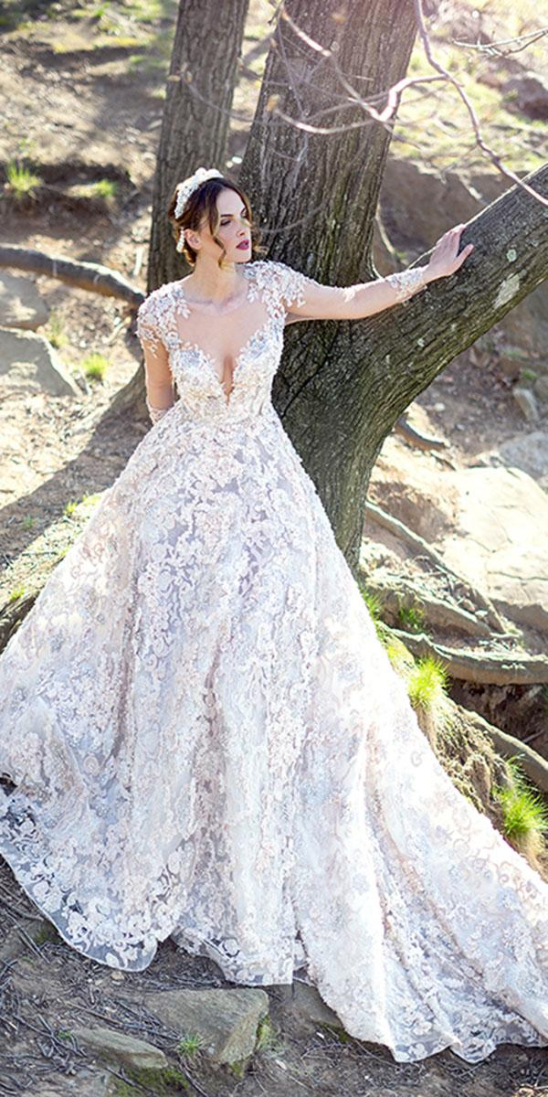 ysa makino wedding dresses ball gown with illusion sleeves floral appliques