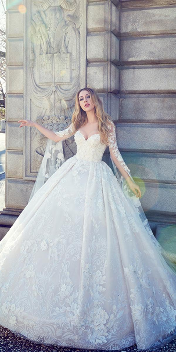 ysa makino wedding dresses ball gown with sleeves sweetheart lace