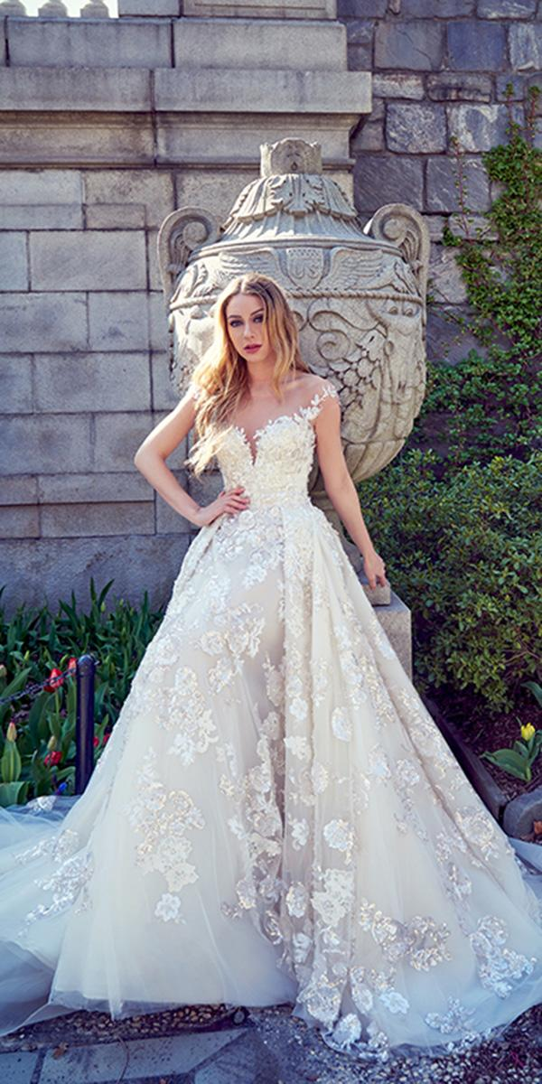 ysa makino wedding dresses ilussion neckline with cap sleeves overskirt floral embellishment