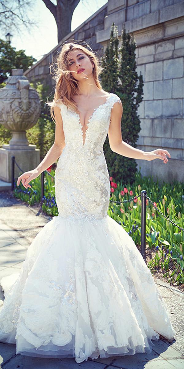 ysa makino wedding dresses mermaid deep v neckline lace