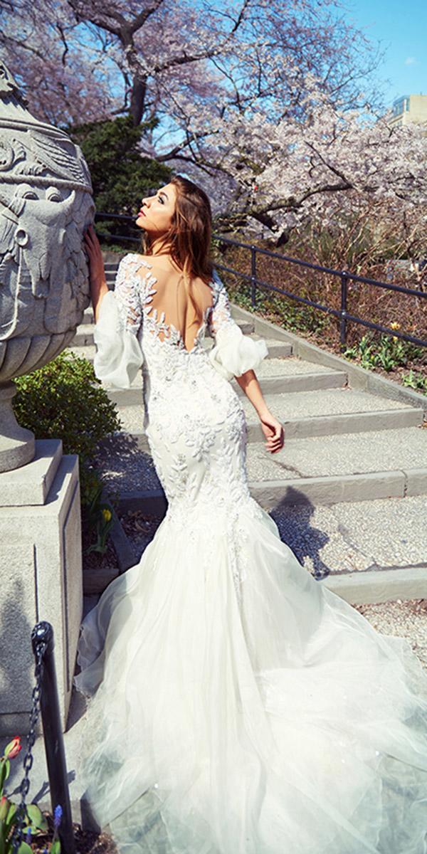ysa makino wedding dresses mermaid illusion back with puff sleeves