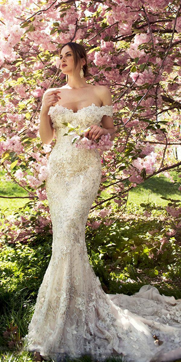 ysa makino wedding dresses mermaid off the shoulder beaded ivory