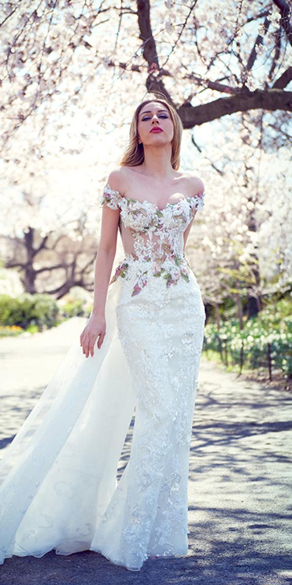 ysa makino wedding dresses sheath off the shoulder colored floral sweetheart