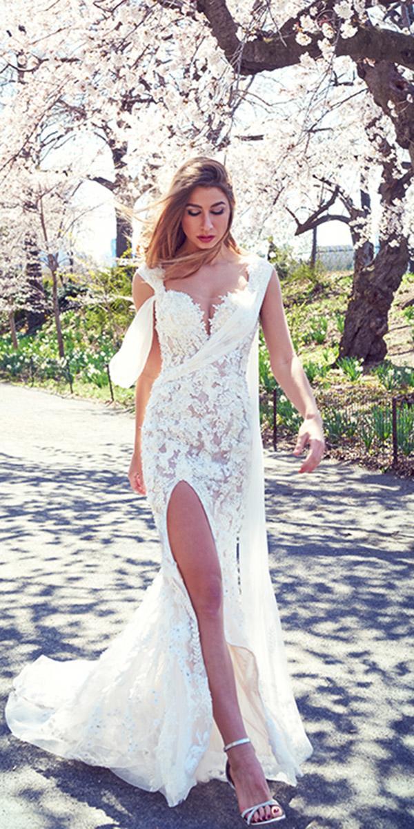 ysa makino wedding dresses sheath sweeteart with slit for spring