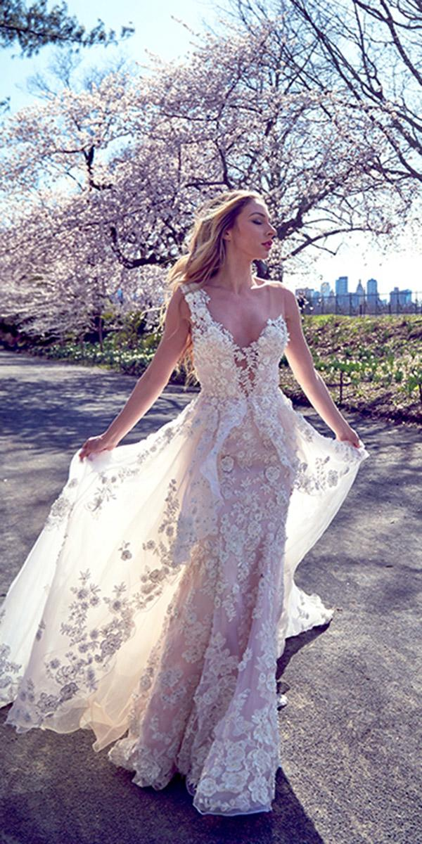 ysa makino wedding dresses sheath with overskirt floral appliques