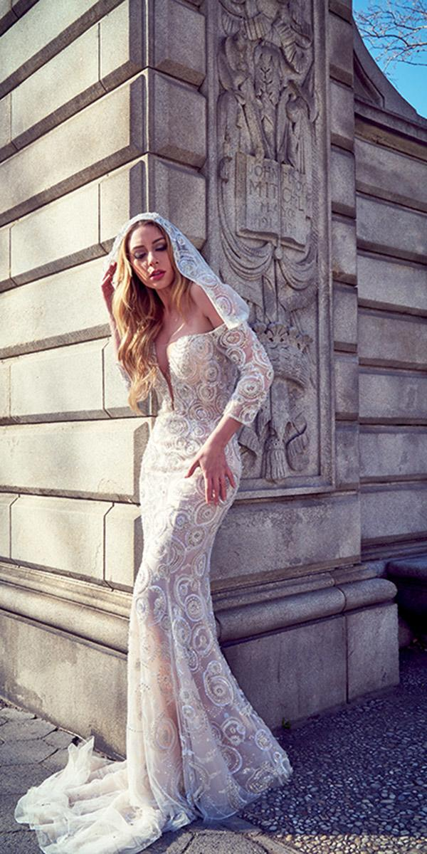 ysa makino wedding dresses sheath with sleeves deep v neckline slit