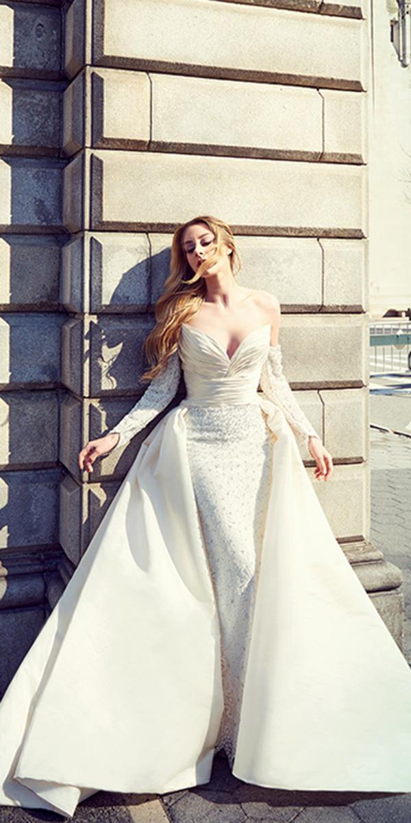 ysa makino wedding dresses sheath with sleeves overskirt modest