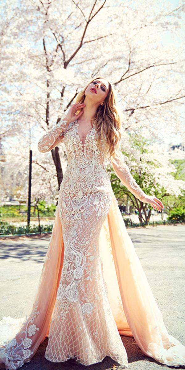 ysa makino wedding dresses trumpet with long sleeves lace with overskirt peach