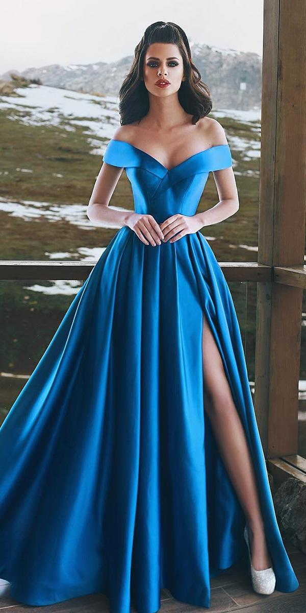 blue wedding dresses a line off the shoulder with slit sapphire simple said mhamad photography