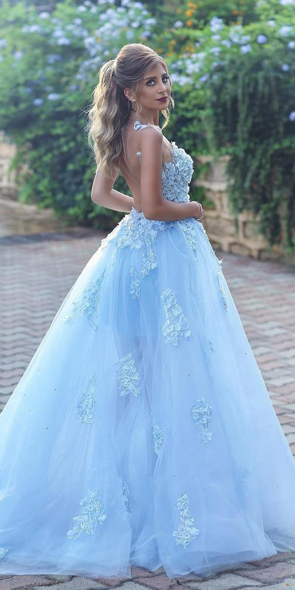 blue wedding dresses ball gown illusion back floral appliques ahmad younes photography