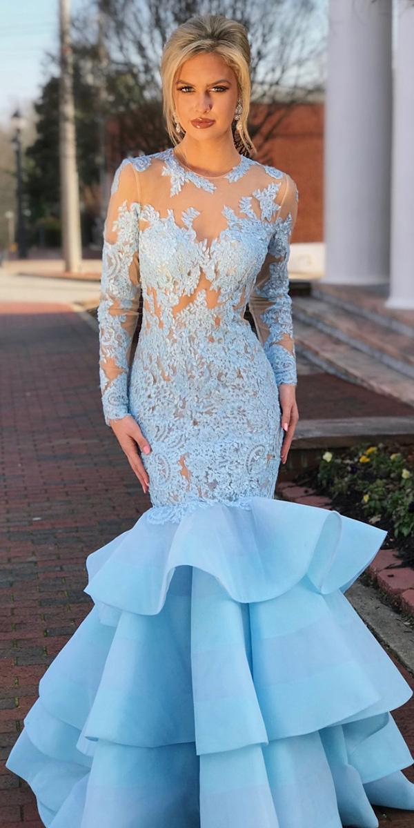 18 dreamy blue wedding dresses to inspire wedding dresses guide blue wedding dresses mermaid with long sleeves lace sherri hill junglespirit Images