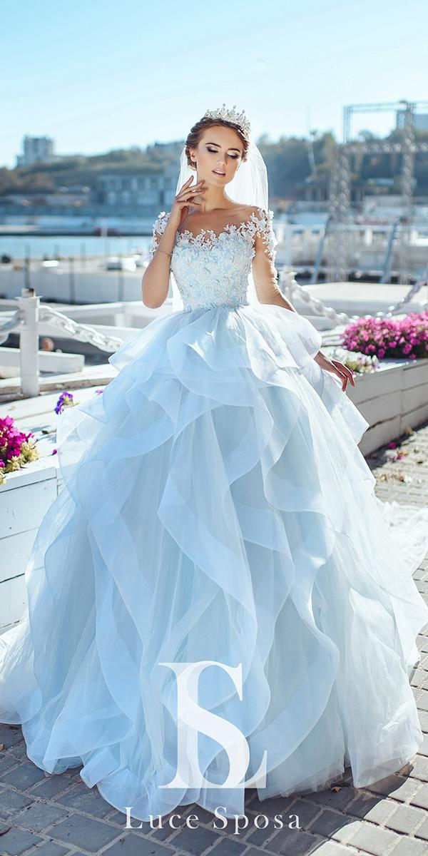 blue wedding dresses pale ball gown with long illusion sleeves ruffled skirt louse sposa