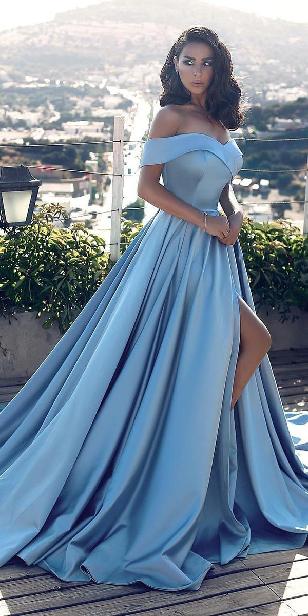 blue wedding dresses royal off the shoulder simple with slit said mhamad photography