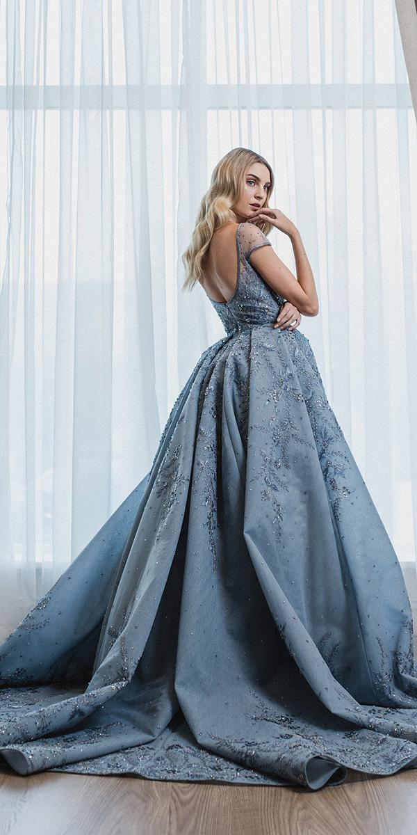 blue wedding dresses royall ball gown with cap sleeves paolo sebastian