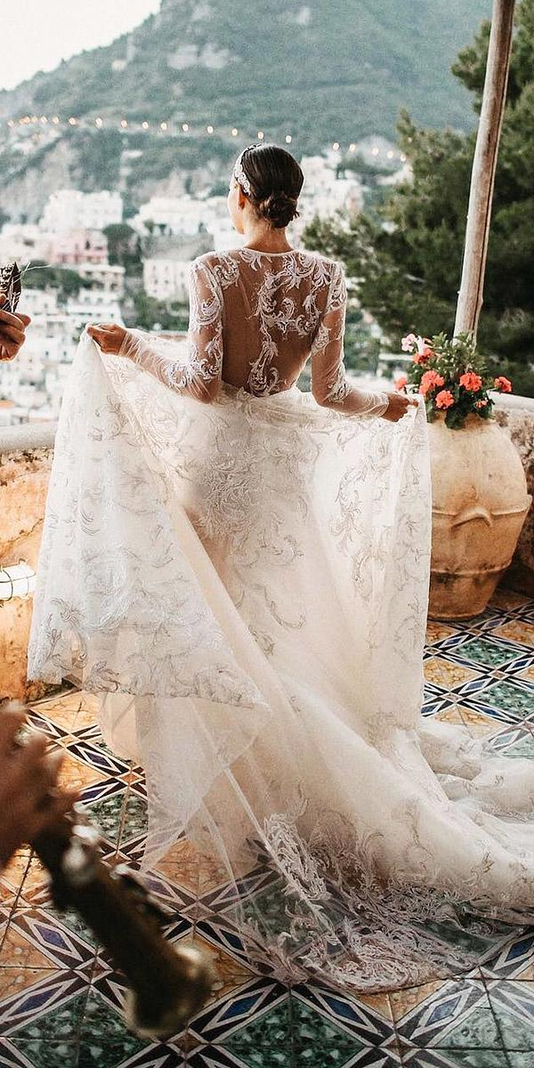 bridal gowns with sleeves a line illusion back lace inbal dror