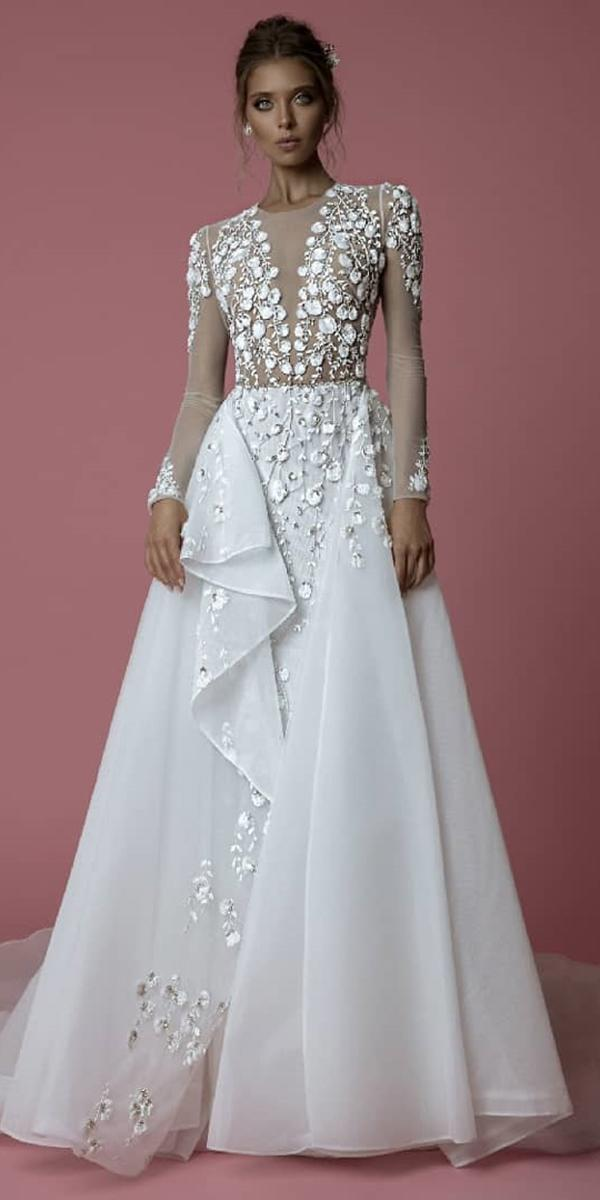bridal gowns with sleeves a line illusion neckline 2019 floral aplliques idan cohen