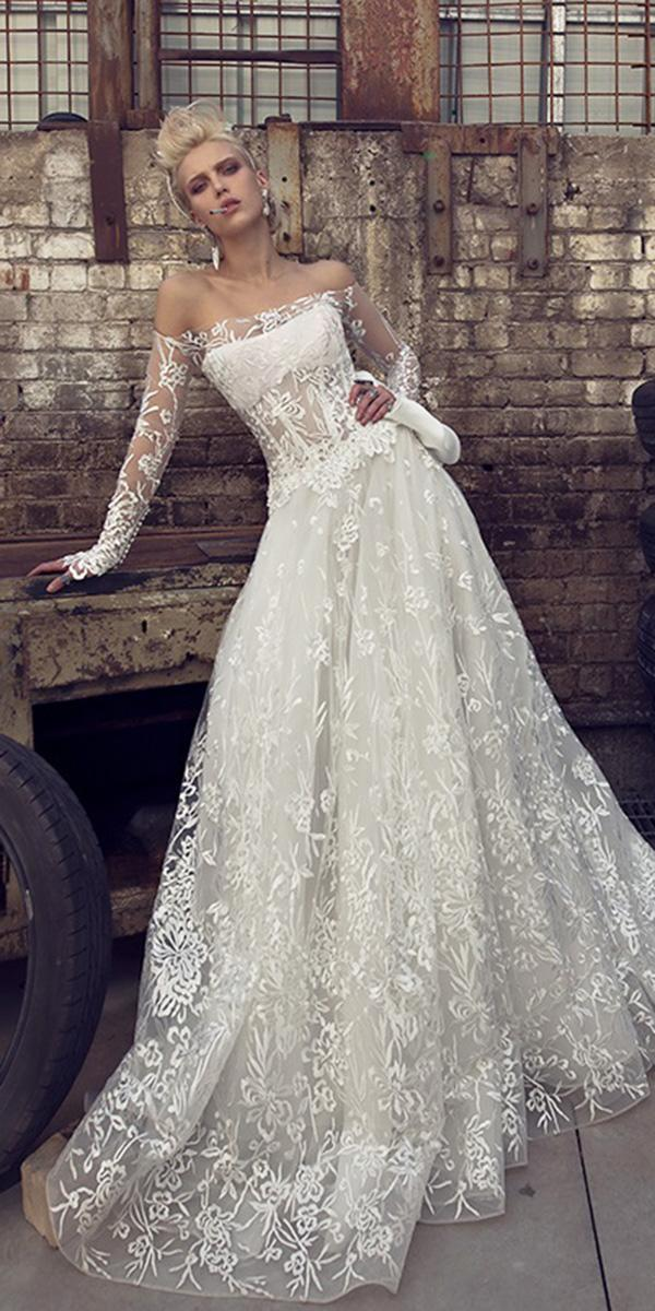 bridal gowns with sleeves a line off the shoulder lace floral 2019 pnina tornai
