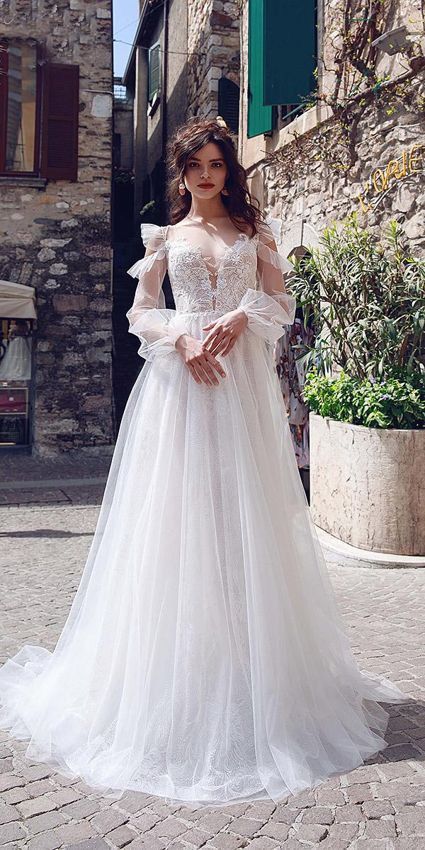 bridal gowns with sleeves a line v neckline delicate lace 2019 armonia