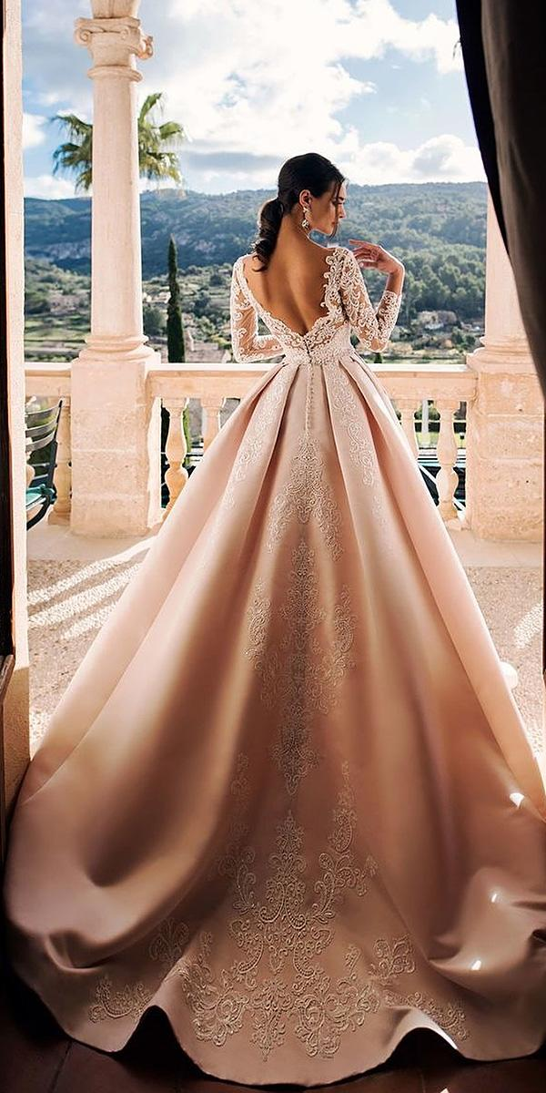 bridal gowns with sleeves ball gown backless lace champagne lanovia penza