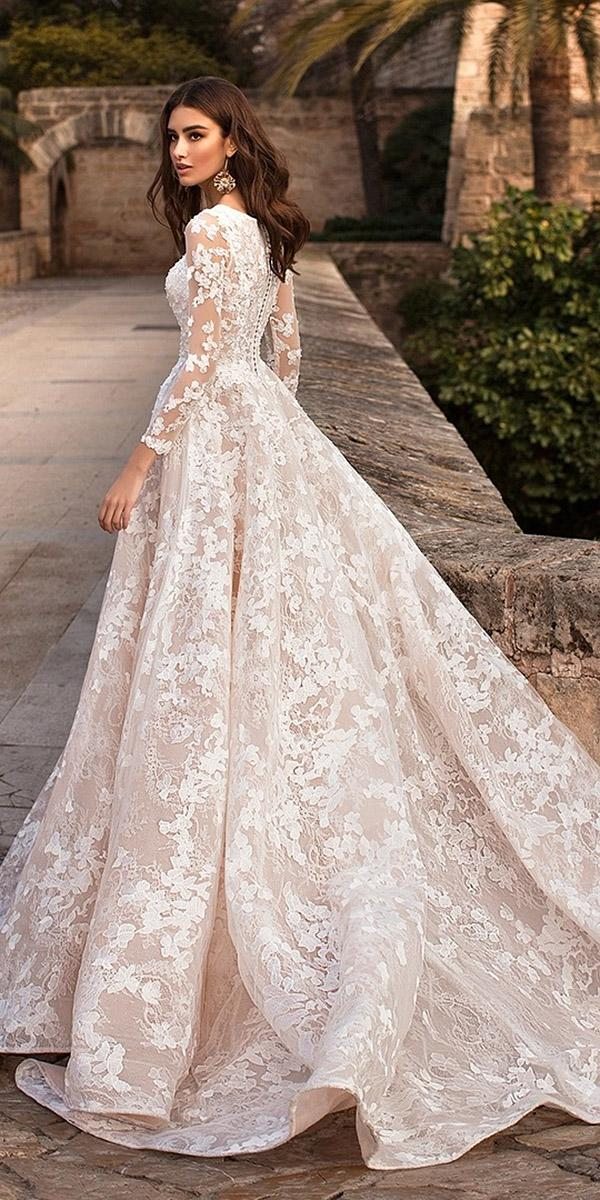 bridal gowns with sleeves ball gown blush lace floral appliques navi blue brida