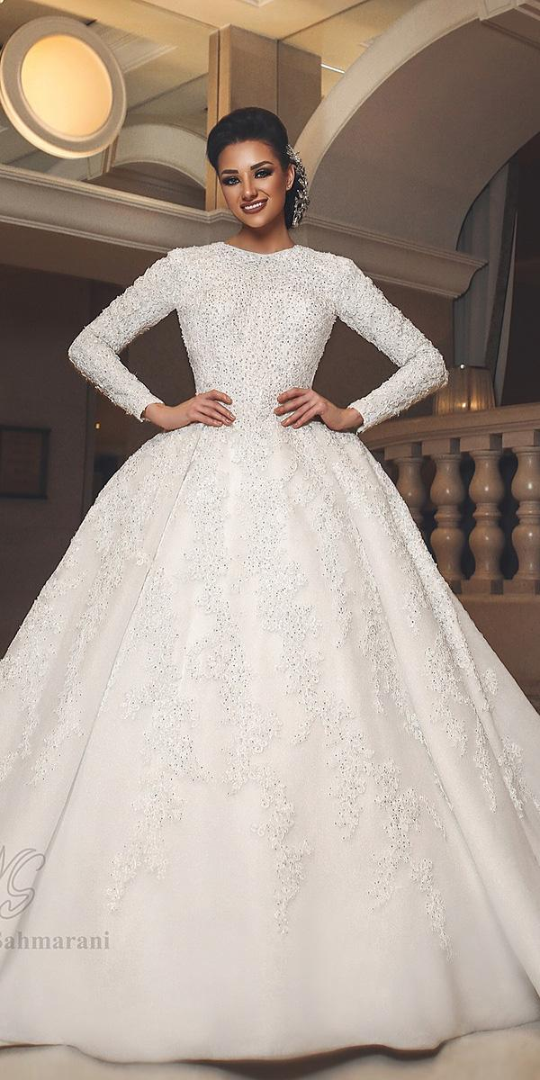 bridal gowns with sleeves ball gown luxury beaded lace maya dasahmarani hautecouture